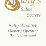 Monique Smith started to work at Sally's Saloon Day Spa and this was her Business Card back then